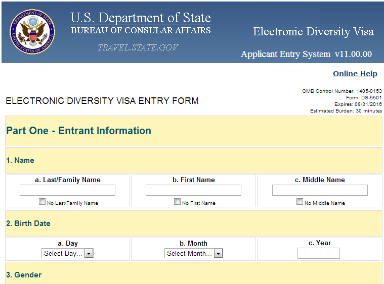 dv lottery visa application form