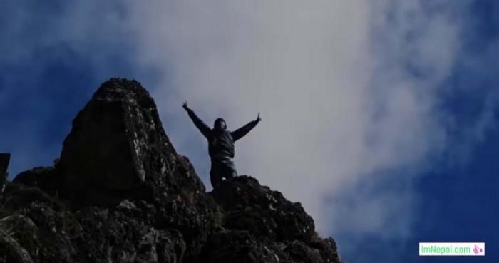rock climbing mountain happiness success feeling proud Nepal Himalayas