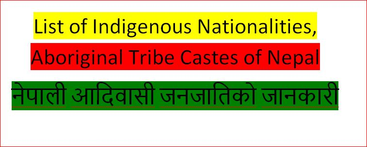 List of Indigenous Nationalities, Aboriginal Tribe Castes of Nepal