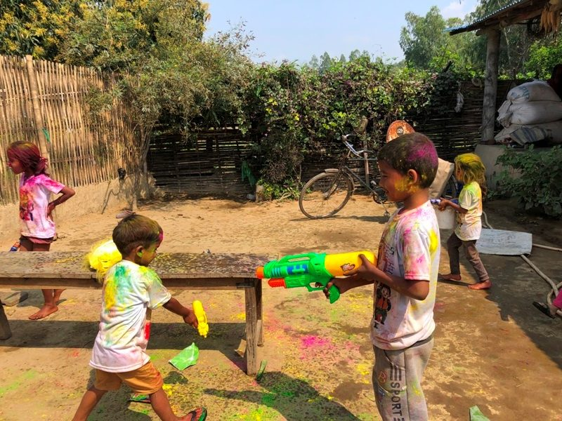 Playing Holi Festival Colors Image children