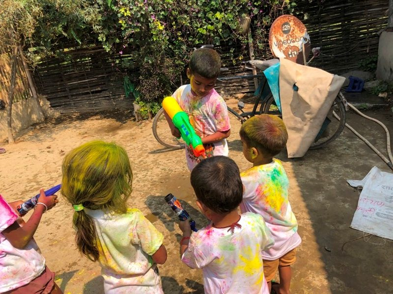 Playing Holi Festival Image children