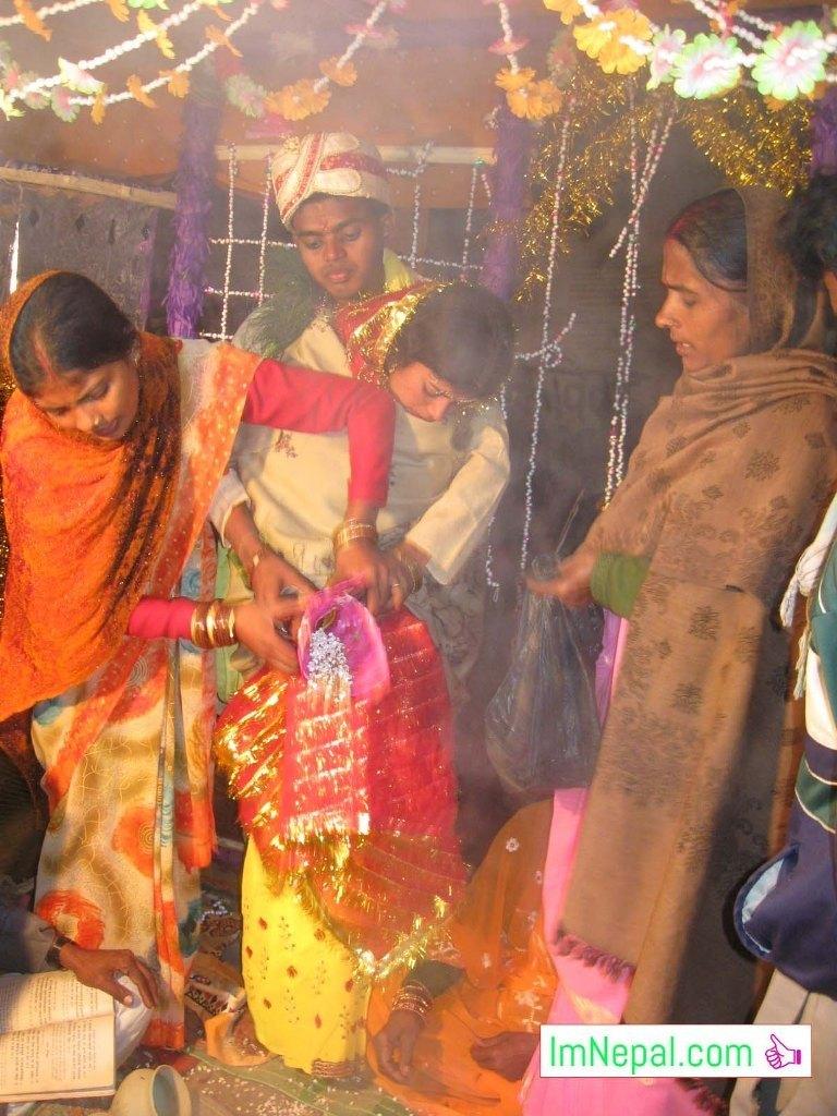 bride and bridegroom marriage bibah ritual Madhesh Terai Mithila Nepal Image