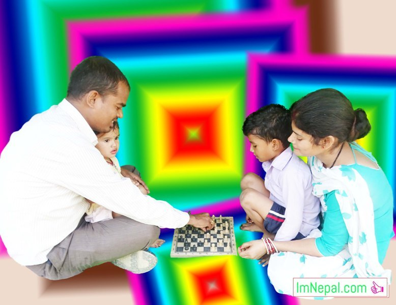 family game chess playing husband wife son daughter image