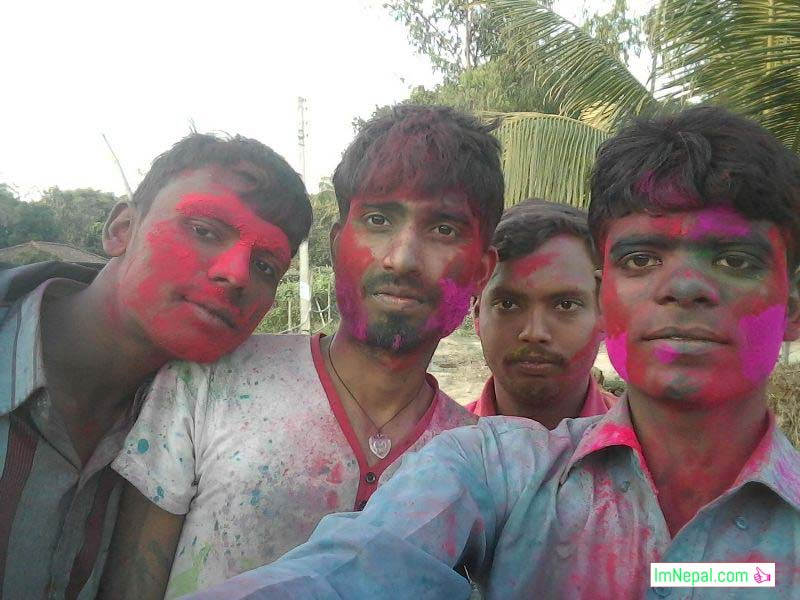 holi festival friends group selfie picture