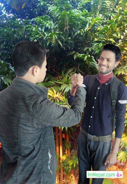 Friendship students handshaking wishing well wisher