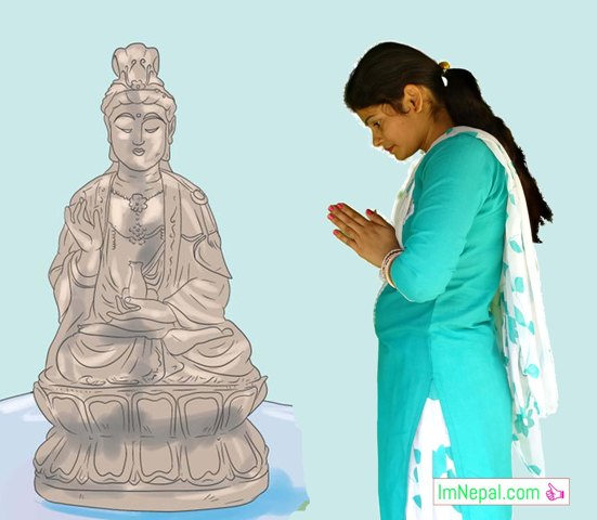 Nepali Female is worshiping Lord Gautama Buddha