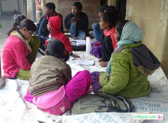 Education System in Nepal - Students are studing in a group