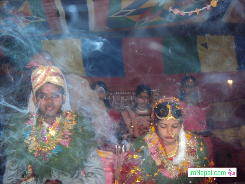 bride and bridegroom in swayambar stage marriage bibah ceromoney Madhesh Terai Mithila Nepal