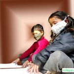 swine flu in Nepal children are studying with mask