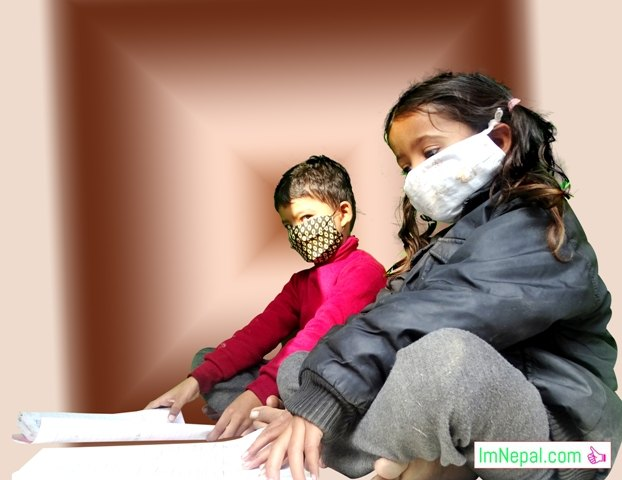 Children are studying with wearing mask