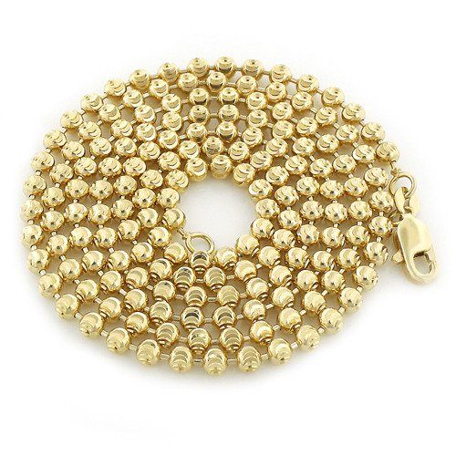 10k yellow gold moon cut bead chain 3mm 22 40in 1