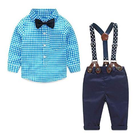 4 Pieces Baby Boy Long Sleeve Shirt Suspender Pant Outfit Set baby boy dress