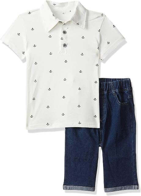 Boys Smart Polo T-Shirt and Shorts Set Boy Children Dress