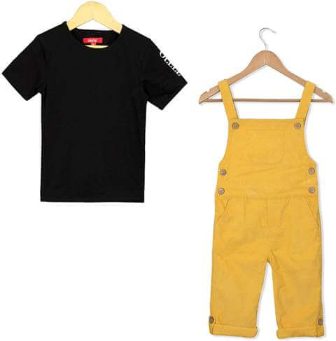 Combo Tshirt with Butter Yellow Corduroy Dungaree Boy Children Dress