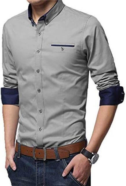 Cotton Casual Shirt with Full Sleeves man dress