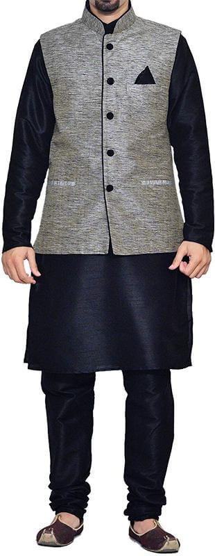 Dupion Silk Black Matching Kurta Chudidar Pyjama with Jacket ethnic Waistcoat Men Dress