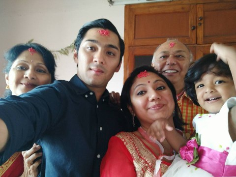 Ishwori Pradhan Shrestha with her family