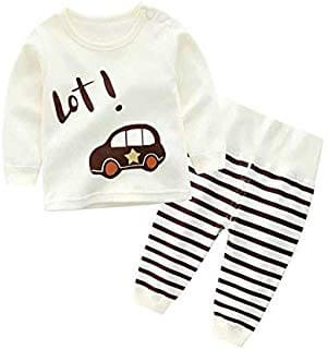 Ivory White Cute Car Printed Tshirt Highwaist Pyjama Set for baby boy dress