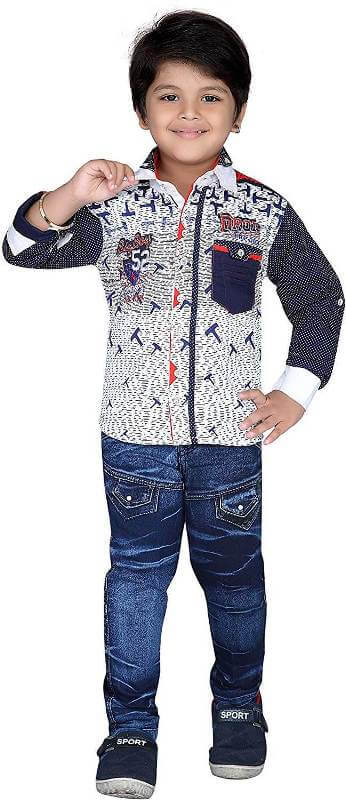 Kids Shirt and Jeans Clothing Set Boy Children Dress