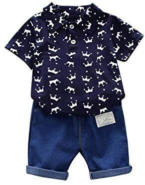 King Crown Printed White Shirt and Blue Jeans Denim Pant baby boy dress