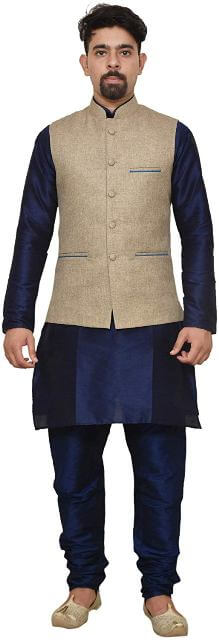 Men's silk Kurta Churidhar With Waistcoat man dress