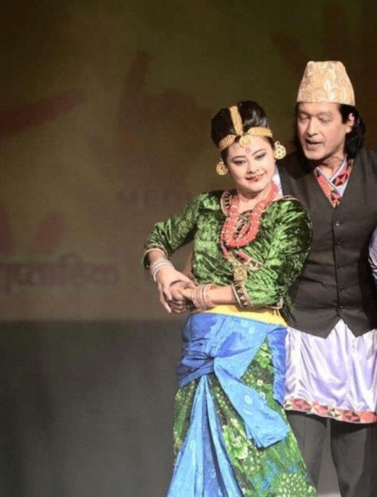 Nepalese actor Rajesh hamal and Nepali Actress Sushma Karki Traditional Dress Image