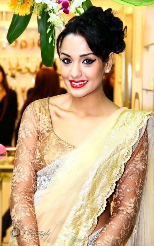 Nepali actress Priyanka Karki in saree dress