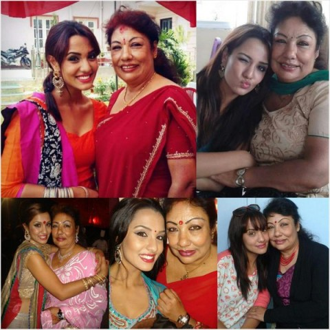 Priyanka Karki with her mother