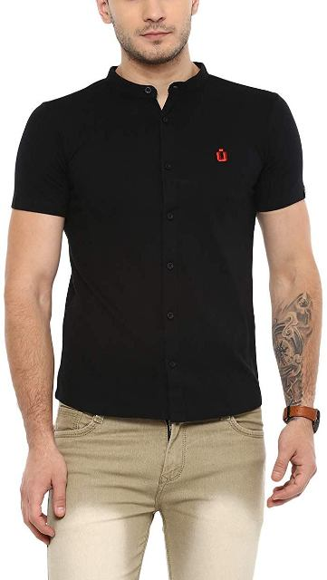 Solid Cotton Polo Shirt with Mandarin Collar man dress