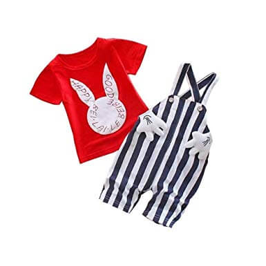 White N Red Cute Bunny Rabbit Cartoon Dungaree Jumpsuit Half Sleeve T-Shirt with Dungaree baby boy dress