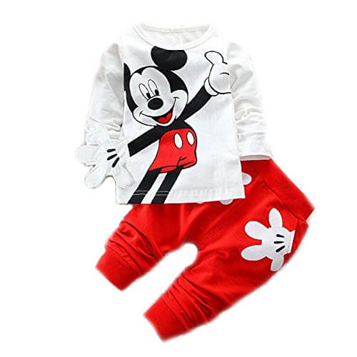 White n Red Mickey Mouse Cute Cartoon Tshirt Pyjama Set baby boy dress