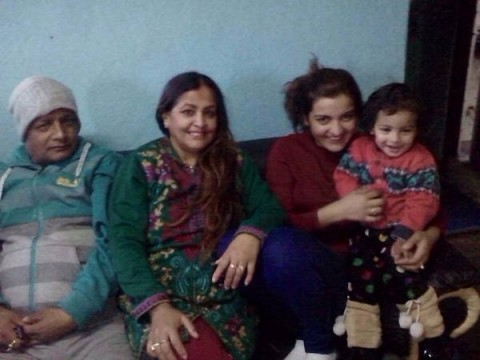 Arunima lamsal with her mother and daughter