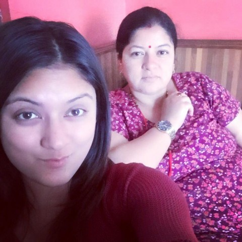 Barsha Raut with her mother