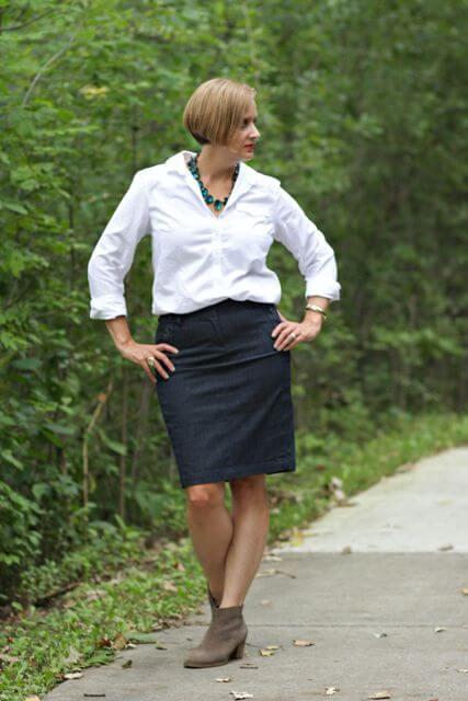 black pencil skirt matured woman