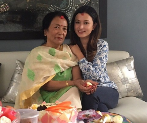 Namrata Shrestha with her mother
