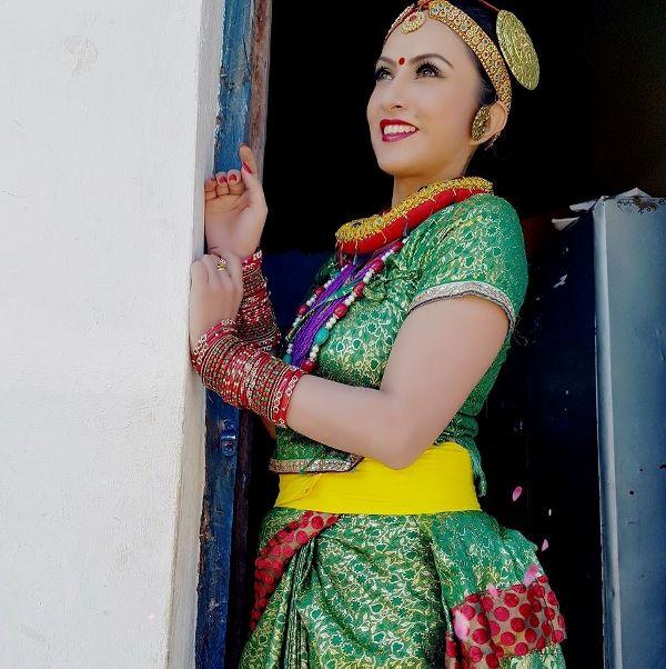 nepali actress Nisha Adhikari traditional dress Image