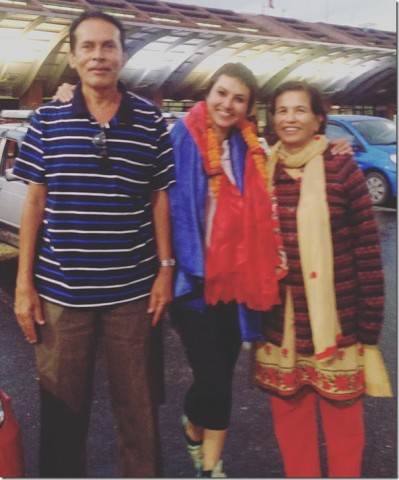Nisha Adhikari with Her Mother & Father