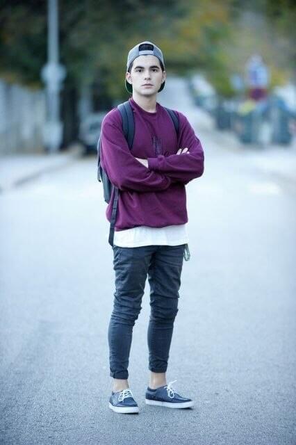 skateboarder looks boys dress