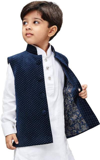 velvet digital print modi jacket with kurta and pant Teenagers Boys Dress
