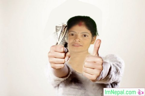 Affordable charges money girl showing cash
