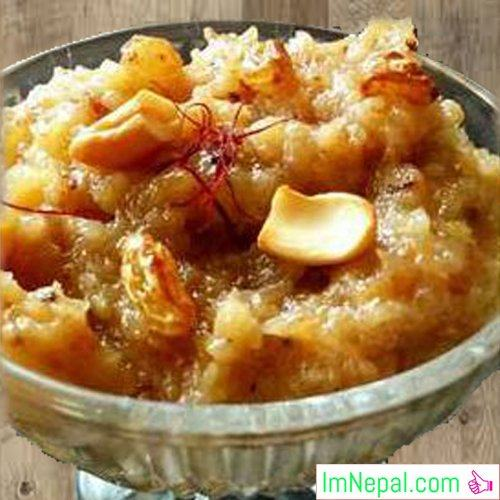 Bread halwa or Double roti Halwa sweet recipe foods Indian dish for diwali festival