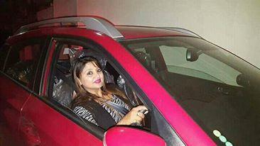 Deepa Shree Niroula in her car