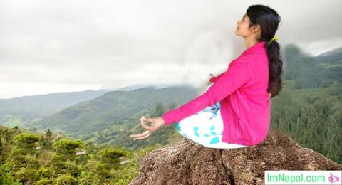 Hike Yoga Meditation Nourish a girl himalayas hills area Nepal