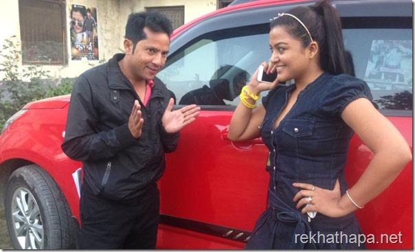 Rekha Thapa & Shyam Bhattarai talking beside Rekhas new-car