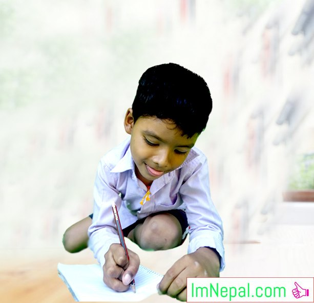 Compose a Book Together - a kid student boy is writing