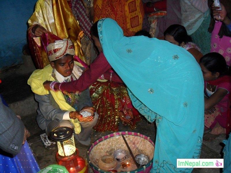 a ritual parichhan after marriage bibha in Mithila Terai Madhesh Nepal India