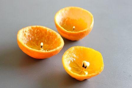 Fruit peel candles