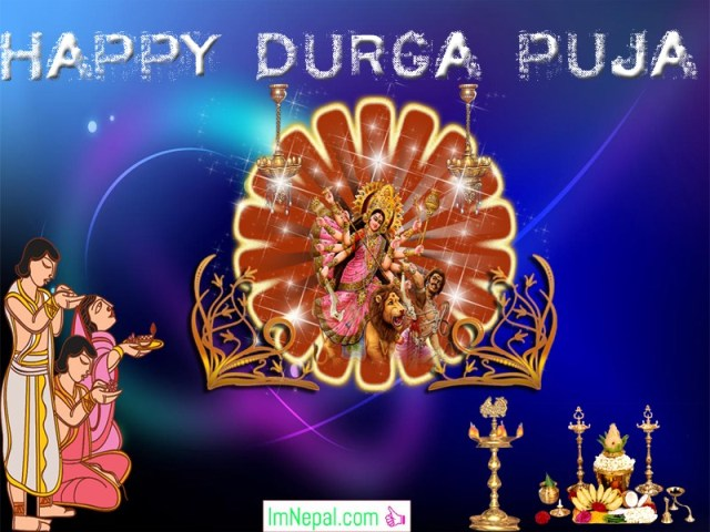 Happy Durga Puja Durgapuja Greeting Card Wish Image ecards Messages Dussehra Navratri Vijayadashami Pictures Wallpaper