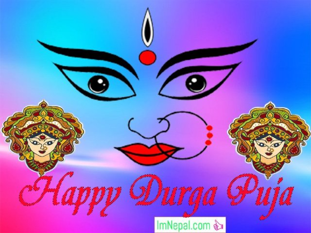 Happy Durga Puja Wishes Greeting Cards Images Wallpapers Quotes Messages Goddess Durga Worship Photo