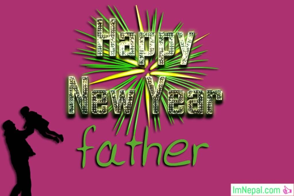 Happy New Year Wishes For Father Greetings Card Image